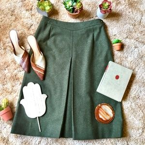 {Vintage} Military Style Virgin Wool Green Skirt 8